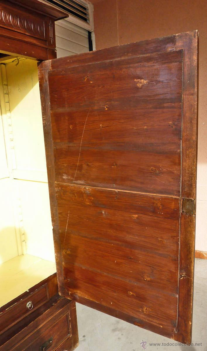 Antigüedades: Armario modernista de 1 puerta con espejo. Madera maciza principos siglo XX - Foto 11 - 53431225