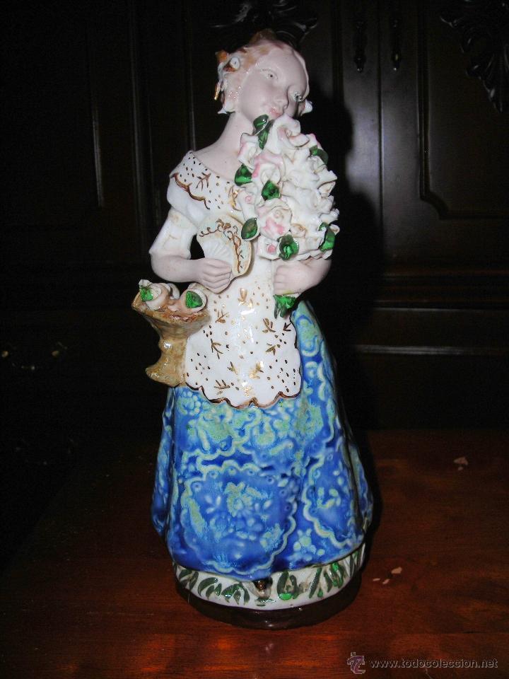 BONITA FIGURA DE FALLERA VALENCIANA EN CERÁMICA DE INGLÉS (VALENCIA) MADE IN SPAIN. (Antigüedades - Porcelanas y Cerámicas - Otras)