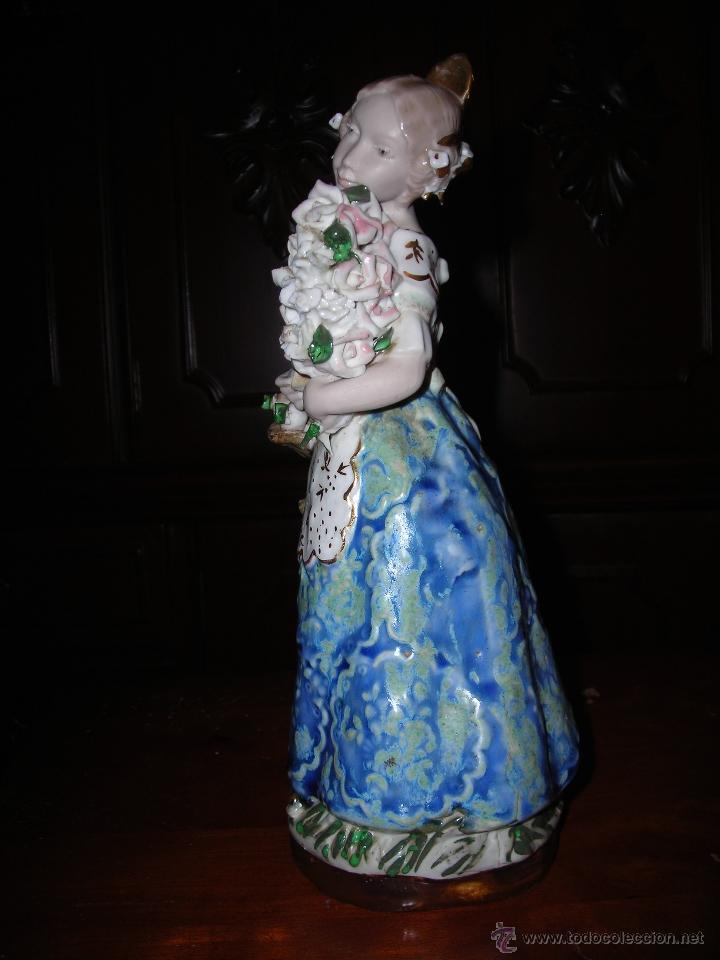 Antigüedades: Bonita figura de fallera valenciana en cerámica de INGLÉS (Valencia) Made In Spain. - Foto 5 - 53465499
