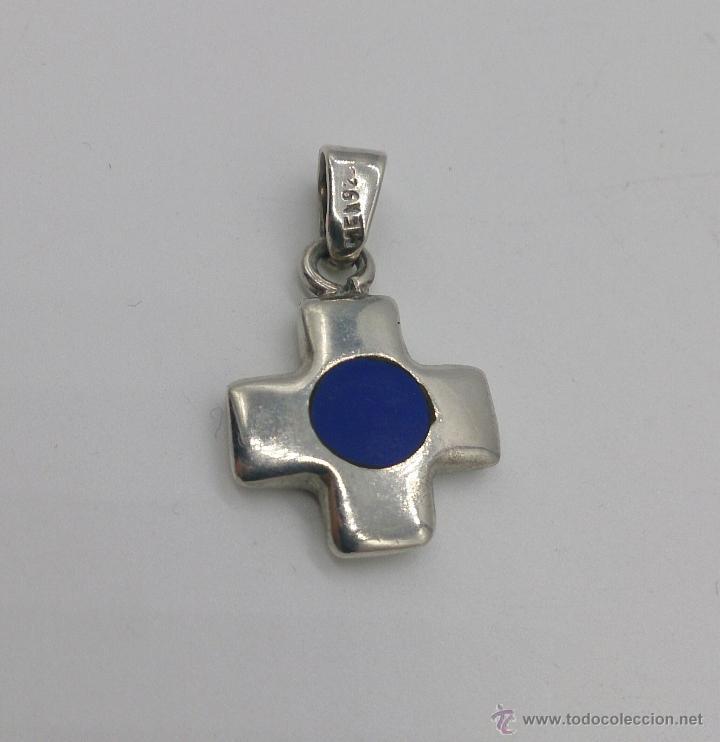 Antigüedades: Colgante de cruz en plata de ley contrasada con aplicaciones en lapislázuli . - Foto 5 - 53468239