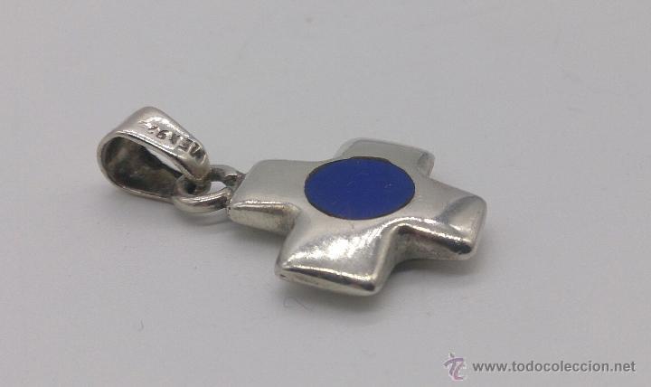 Antigüedades: Colgante de cruz en plata de ley contrasada con aplicaciones en lapislázuli . - Foto 6 - 53468239