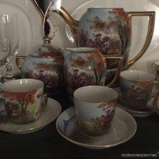 Antigüedades: JUEGO DE CAFE PINTADO A MANO. Lote 53480106