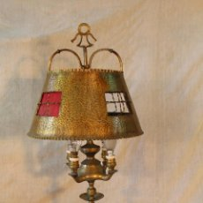 Antigüedades: LAMPARA CANDIL DE 4 LUCES EN BRONCE-LATON. Lote 53505722