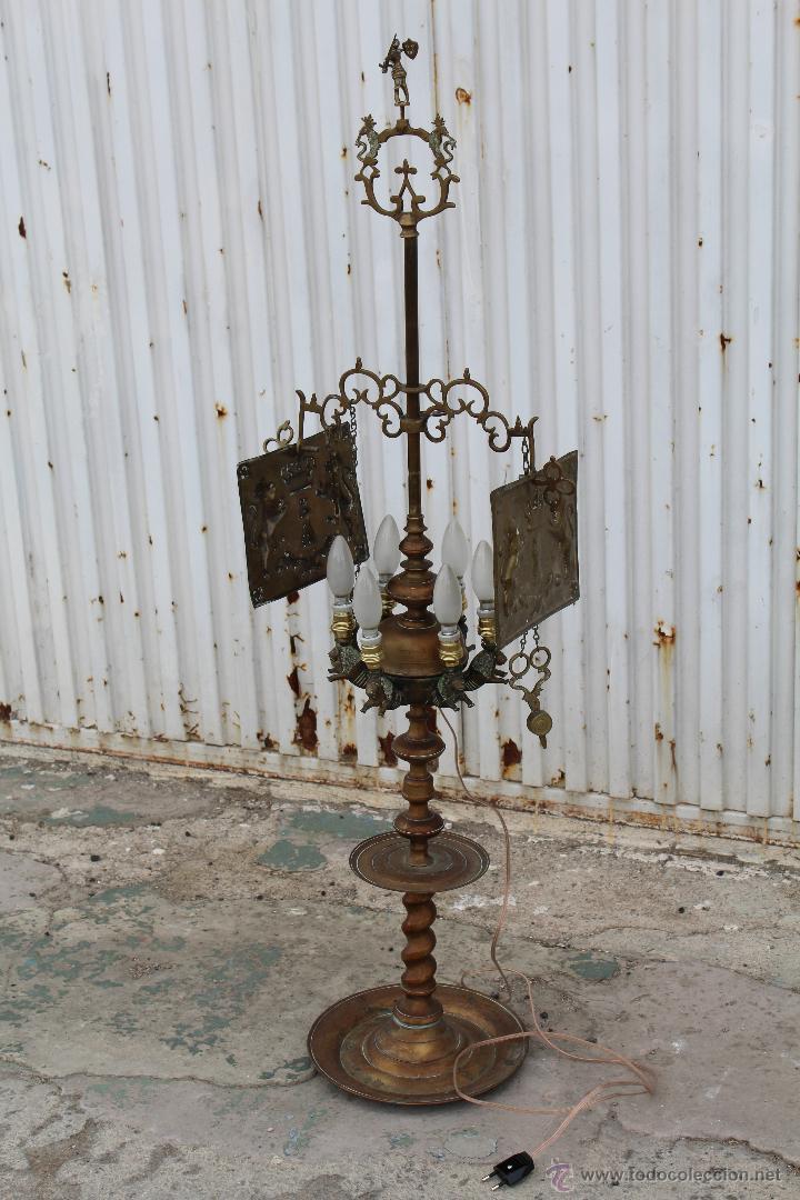 LAMPARA CANDIL DE 6 LUCES EN BRONCE-LATON (Antigüedades - Iluminación - Lámparas Antiguas)