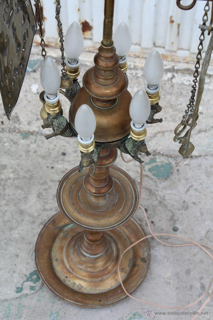 Antigüedades: LAMPARA CANDIL DE 6 LUCES EN BRONCE-LATON - Foto 2 - 53505844