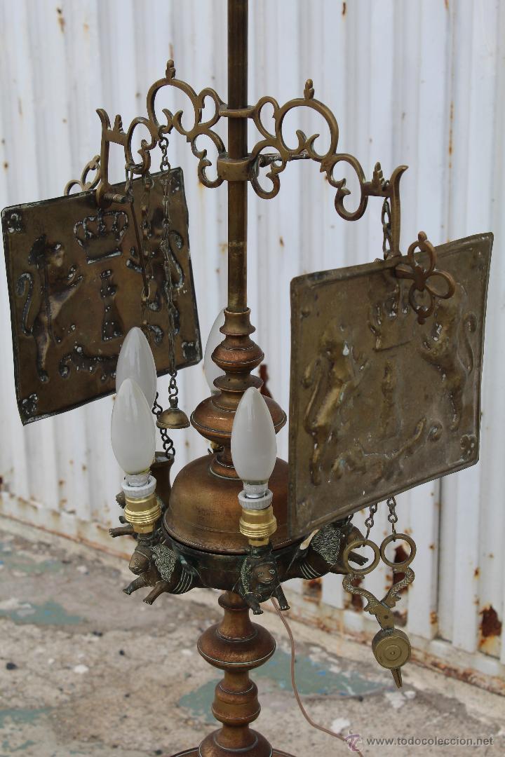 Antigüedades: LAMPARA CANDIL DE 6 LUCES EN BRONCE-LATON - Foto 4 - 53505844