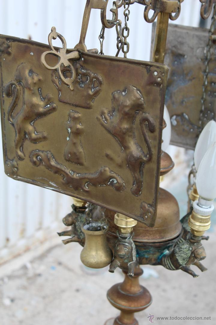 Antigüedades: LAMPARA CANDIL DE 6 LUCES EN BRONCE-LATON - Foto 6 - 53505844