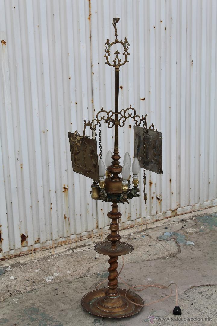 Antigüedades: LAMPARA CANDIL DE 6 LUCES EN BRONCE-LATON - Foto 7 - 53505844
