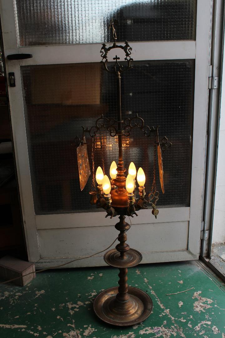 Antigüedades: LAMPARA CANDIL DE 6 LUCES EN BRONCE-LATON - Foto 11 - 53505844