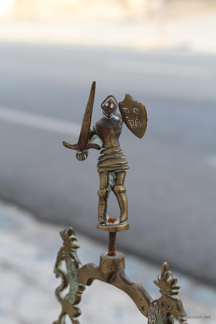 Antigüedades: LAMPARA CANDIL DE 6 LUCES EN BRONCE-LATON - Foto 14 - 53505844