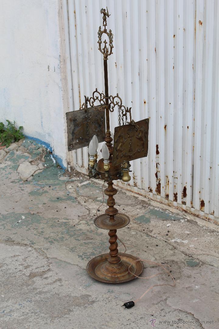 Antigüedades: LAMPARA CANDIL DE 6 LUCES EN BRONCE-LATON - Foto 17 - 53505844