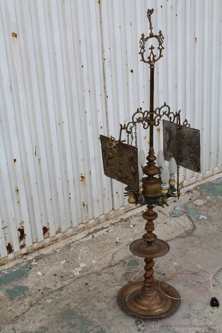 Antigüedades: LAMPARA CANDIL DE 6 LUCES EN BRONCE-LATON - Foto 21 - 53505844