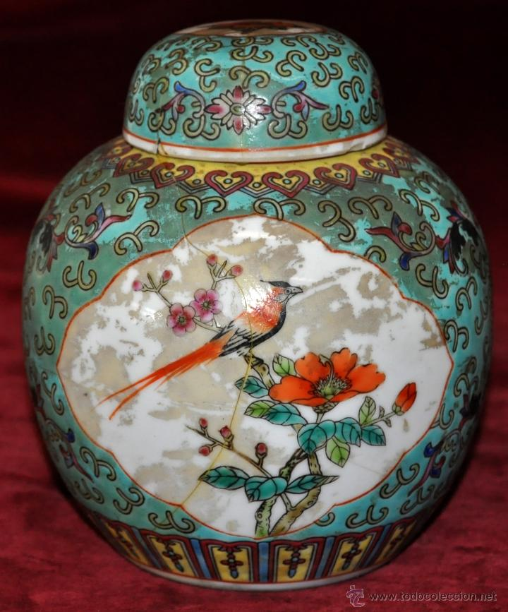 PEQUEÑO TIBOR EN CERÁMICA DE MANUFACTURA CHINA. CIRCA 1950 (Antigüedades - Porcelanas y Cerámicas - China)