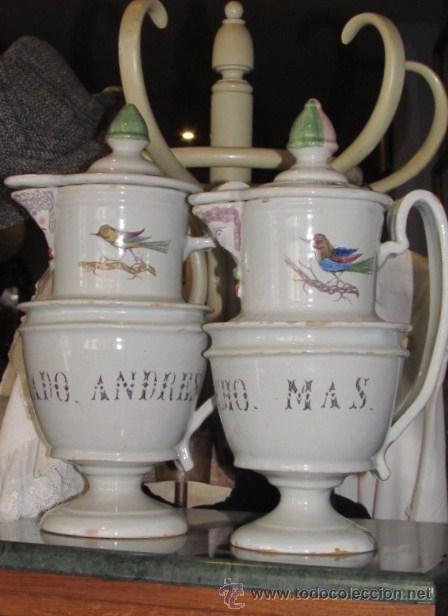 ESPECTACULAR PAREJA DE JARRAS DE CERÁMICA SIGLO XIX (Antigüedades - Porcelanas y Cerámicas - Otras)
