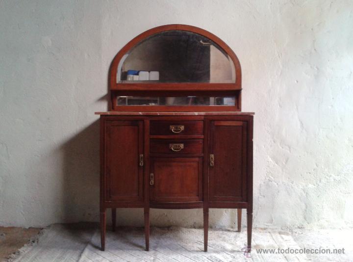 Antigüedades: Aparador antiguo estilo inglés eduardiano. Mueble de salón auxiliar con espejo antiguo modernista. - Foto 2 - 53536039