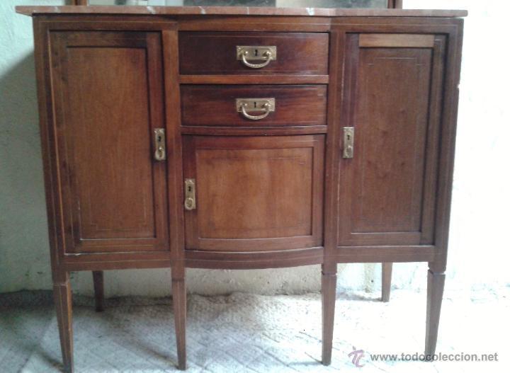 Antigüedades: Aparador antiguo estilo inglés eduardiano. Mueble de salón auxiliar con espejo antiguo modernista. - Foto 4 - 53536039
