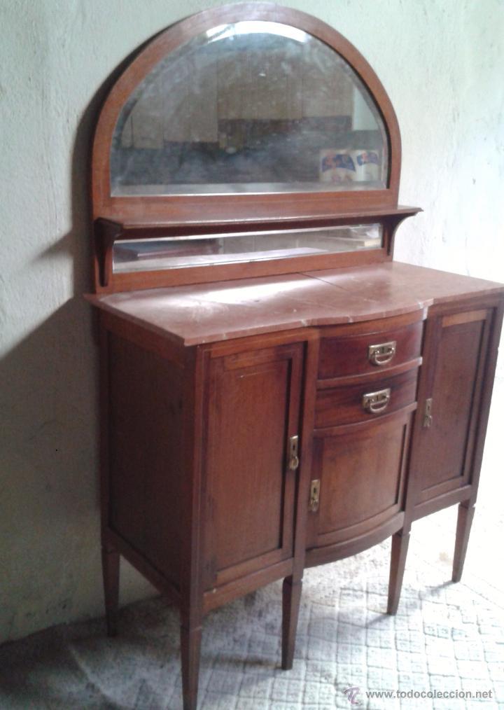 Antigüedades: Aparador antiguo estilo inglés eduardiano. Mueble de salón auxiliar con espejo antiguo modernista. - Foto 5 - 53536039