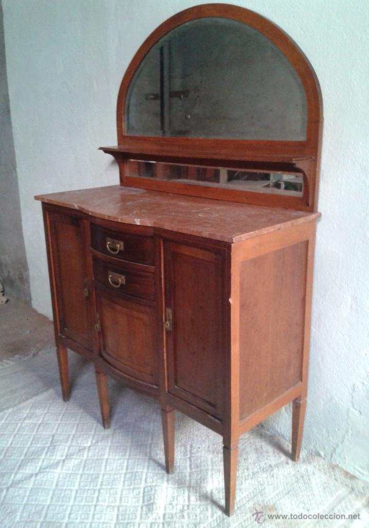 Antigüedades: Aparador antiguo estilo inglés eduardiano. Mueble de salón auxiliar con espejo antiguo modernista. - Foto 6 - 53536039