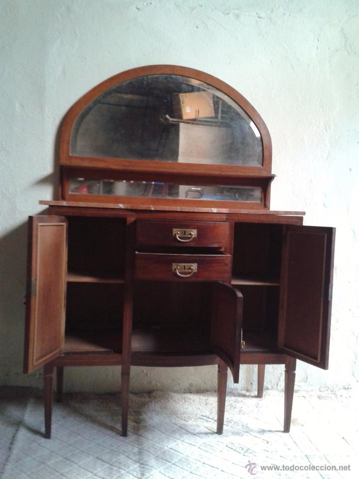 Antigüedades: Aparador antiguo estilo inglés eduardiano. Mueble de salón auxiliar con espejo antiguo modernista. - Foto 7 - 53536039