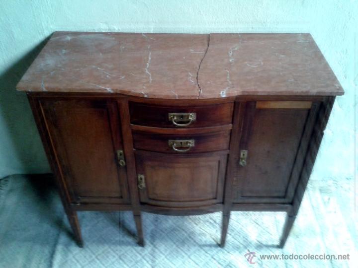 Antigüedades: Aparador antiguo estilo inglés eduardiano. Mueble de salón auxiliar con espejo antiguo modernista. - Foto 9 - 53536039