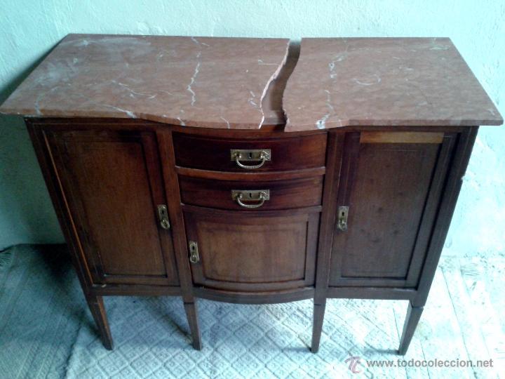Antigüedades: Aparador antiguo estilo inglés eduardiano. Mueble de salón auxiliar con espejo antiguo modernista. - Foto 10 - 53536039