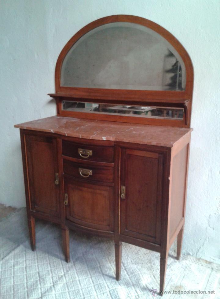 Antigüedades: Aparador antiguo estilo inglés eduardiano. Mueble de salón auxiliar con espejo antiguo modernista. - Foto 11 - 53536039