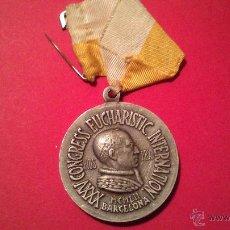 Antigüedades: MEDALLA CONGRESO EUCARISTICO INTERNACIONAL BARCELONA ALUMINIO.. Lote 53536078