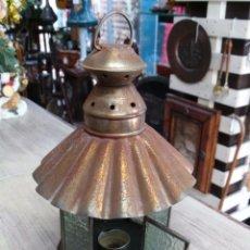 Antigüedades: FAROL DE METAL CON FORMA OCTAGONAL Y CRISTALES LABRADOS. Lote 53536343