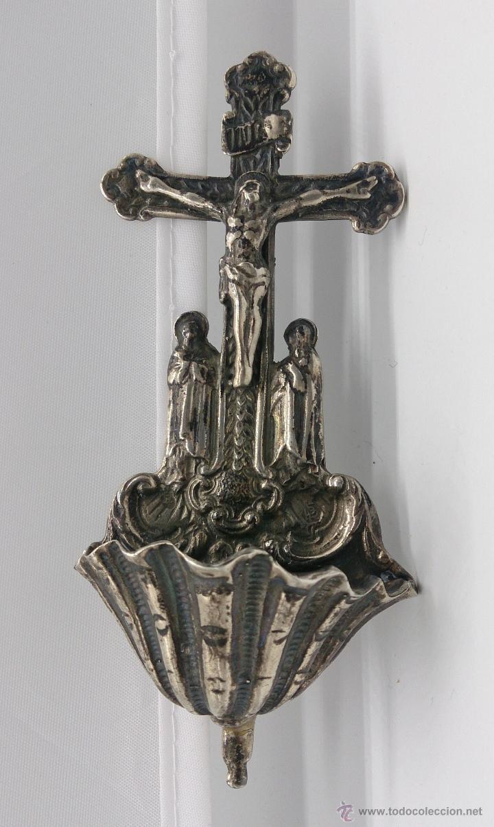 Antigüedades: Benditera antigua en plata de ley contrastada y bellamente repujada . - Foto 8 - 53577399