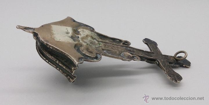 Antigüedades: Benditera antigua en plata de ley contrastada y bellamente repujada . - Foto 11 - 53577399
