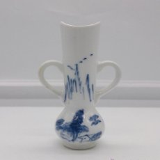 Antigüedades - Palillero antiguo en porcelana Holandesa estilo delft con motivos de paisaje policromados a mano . - 53603216