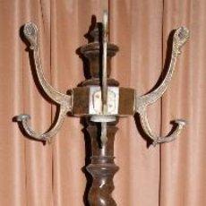 Antigüedades: ANTIGUO PERCHERO DE MADERA DE ROBLE Y METAL. FINALES S. XIX.. Lote 53605054