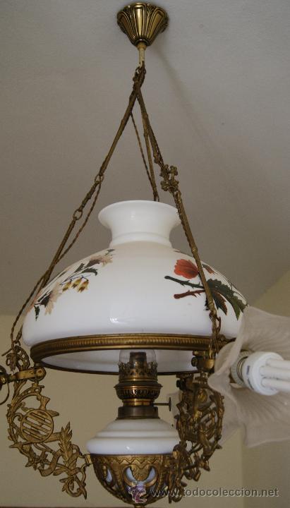 talladoAño Antigua a bronce cristal con opalino tulipas Lámpara de y 1895 1850 Quinqué decorada D2I9EH