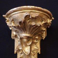 Antigüedades: IMPORTANTE MÉNSULA BARROCA EN MADERA TALLADA Y DORADA. 42 X 35 CM. SIGLO XVIII.. Lote 53622671