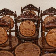 Antigüedades: ANTIGUA SILLA. CONJUNTO DE 6 SILLAS DE REJILLA.. Lote 53646777