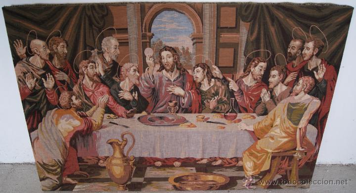Antigüedades: Antiguo Tapiz con representación última cena. 1,5 metros * 1 metro - Foto 4 - 53647384