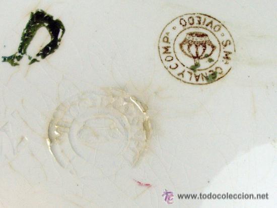 Antigüedades: ANTIGUO PLATO DECORADO LOZA. CERAMICA CEÑAL. SAN CLAUDIO 1ª EPOCA. OVIEDO ASTURIAS - Foto 2 - 53655748