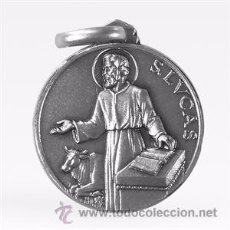 Antigüedades: MEDALLA SAN LUCAS EN PLATA DE LEY MACIZA - 18MM. Lote 101124539