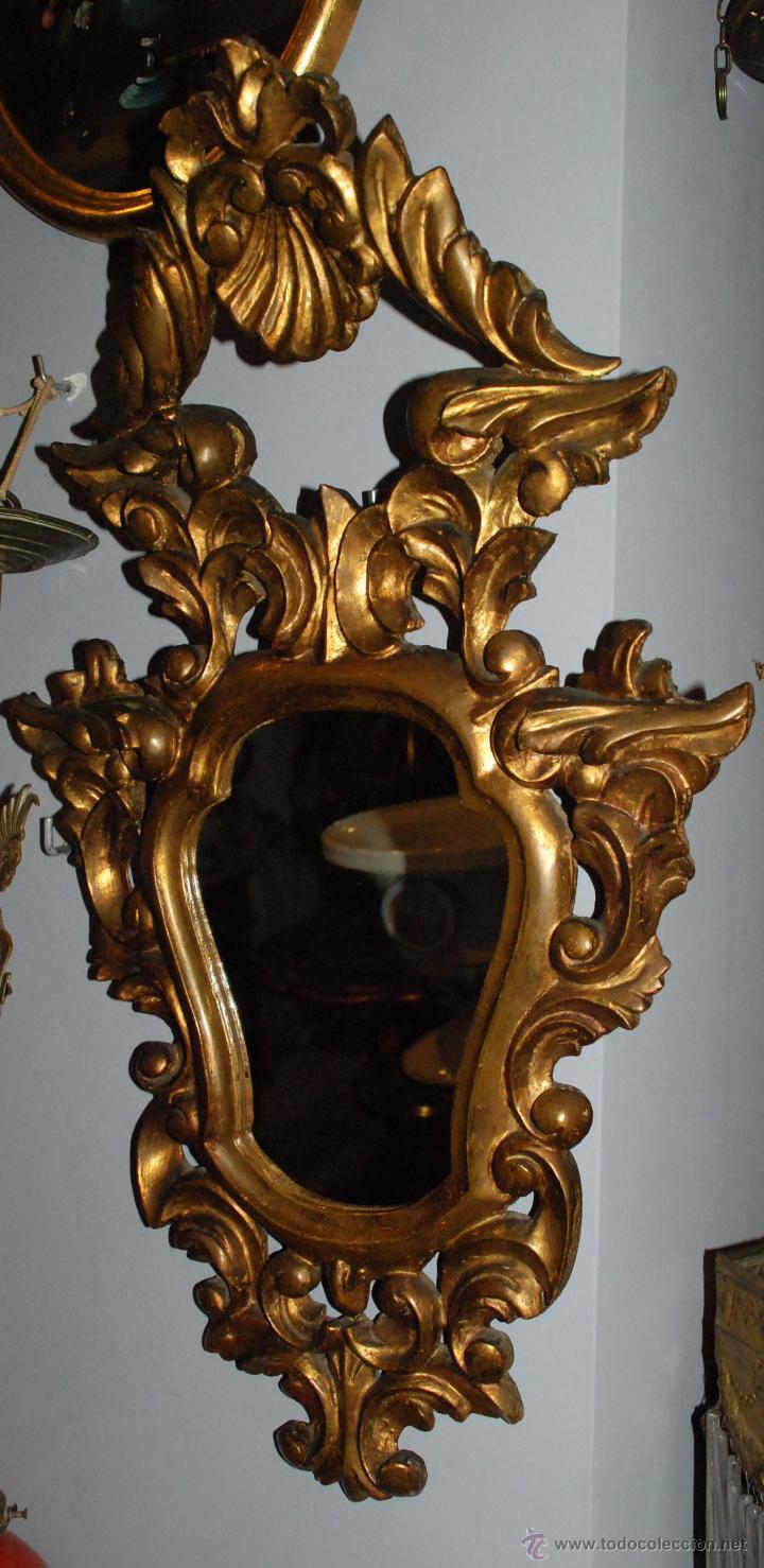 ANTIGUA CORNUCOPIA TALLA MADERA CON ESPEJO (Antigüedades - Muebles Antiguos - Cornucopias Antiguas)