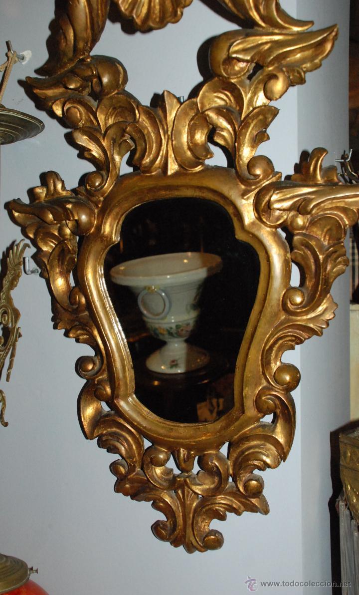 Antigüedades: ANTIGUA CORNUCOPIA TALLA MADERA CON ESPEJO - Foto 2 - 53683238