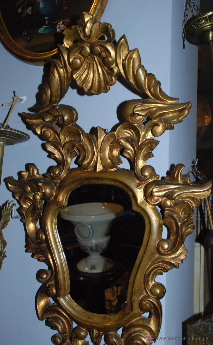 Antigüedades: ANTIGUA CORNUCOPIA TALLA MADERA CON ESPEJO - Foto 3 - 53683238