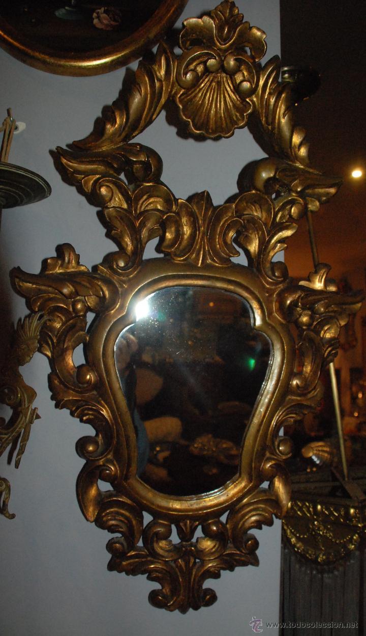 Antigüedades: ANTIGUA CORNUCOPIA TALLA MADERA CON ESPEJO - Foto 4 - 53683238