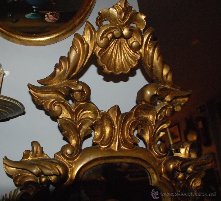 Antigüedades: ANTIGUA CORNUCOPIA TALLA MADERA CON ESPEJO - Foto 5 - 53683238