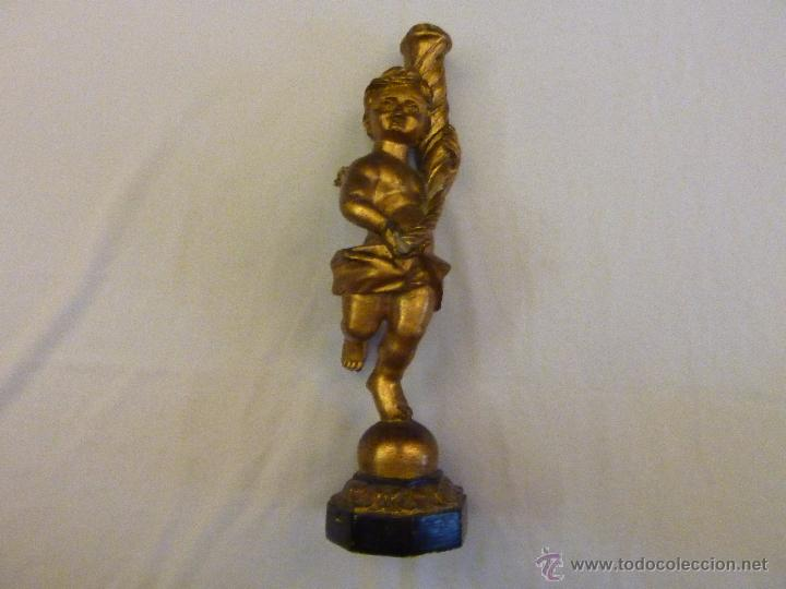 Antigüedades: Angelote/ Porta velas de madera. 37 cms. - Foto 2 - 59508831