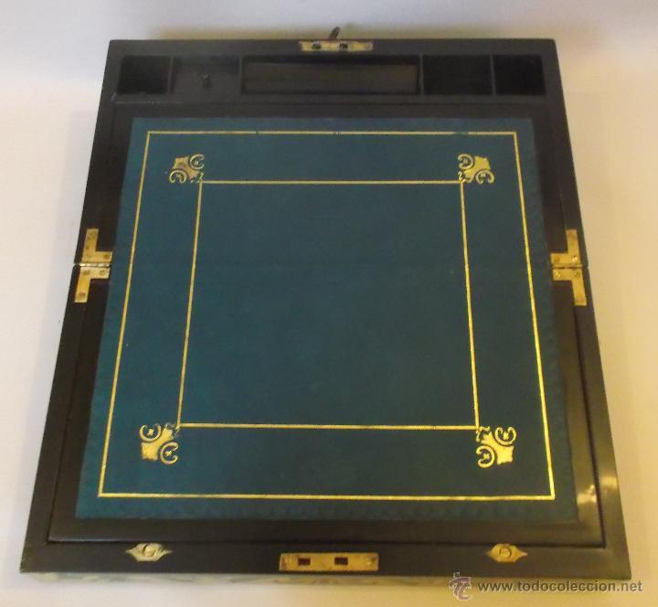 Antigüedades: Escritorio inglés S.XIX de Palorosa y latón - Foto 11 - 53690832