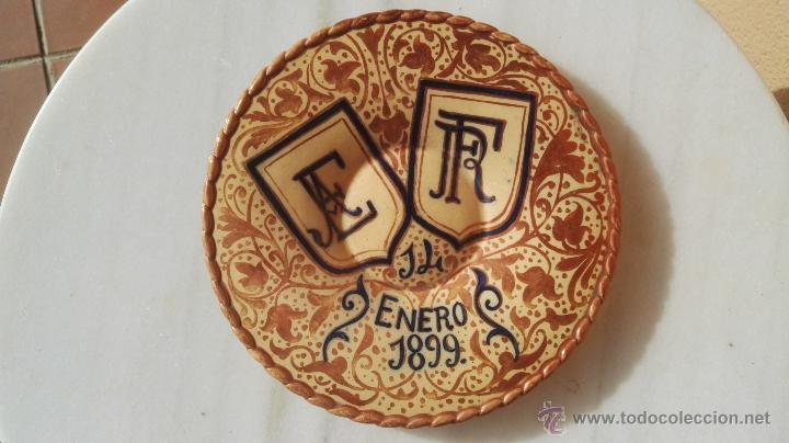 PLATO DE REFLEJOS AÑO 1899. (Antigüedades - Porcelanas y Cerámicas - Manises)