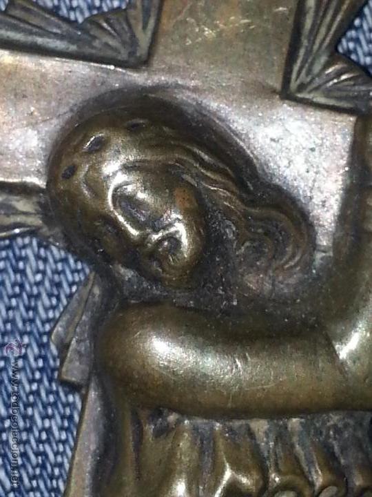 Antigüedades: cristo jesucristo nazareno antiguo metal muy bien trabajado detente para puerta portada bilbia ... - Foto 3 - 53700893