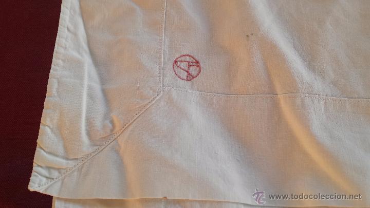 Antigüedades: antigua sabana bajera bordado inicial a, algodon - Foto 2 - 53701104