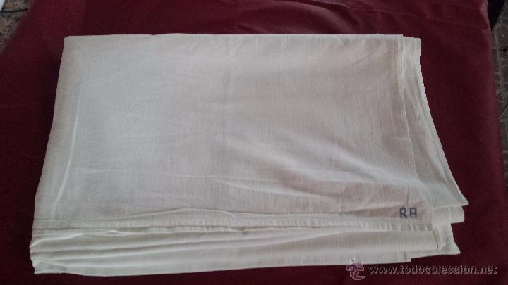 Antigüedades: antigua sabana bajera de algodon, bordado inicial a - Foto 3 - 53701436