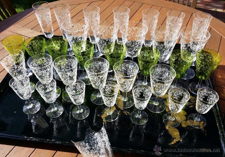 Antigüedades: Cristalería copas cristal soplado grabado S XIX - Foto 14 - 48691794